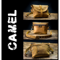Handy leather fanny pack with long crossbody strap in Camel color