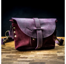 Leather original fanny pack with long strap in Plum color with Claret suede