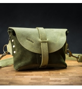 Leather fanny pack/shoulder bag in Lime color with Khaki colored suede
