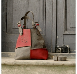 Leather bag Alicja two colors grey and raspberry.