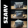 Leather women fanny pack in Grey color made by Ladybuq Art