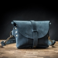 Small leather fanny pack with long crossbody strap in Navy Blue color made by Ladybuq