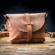 Original leather fanny pack in Ginger color made by hand with long shoulder strap