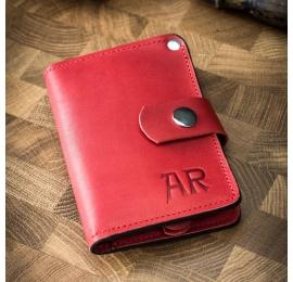 kleine Lederbrieftasche in roter Farbe aus Naturleder von Ladybuq Art