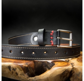 stylish black leather belt with original red ornamental stitching made by ladybuq art