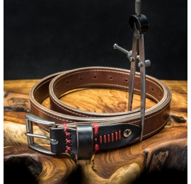 durable leather belt in brown and black colors with ornamental red stitching