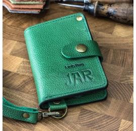 Leder handgefertigte Brieftasche in grüner Farbe, kleine Damenbrieftasche