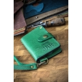 leather handcrafted wallet in green color, small women wallet