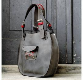 Lusi grey bag handmade natural leather bag made by ladybuq art studio