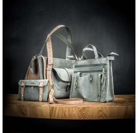Leather set Lili purse in Grey and Light Brown color variation, bag with optional wallet and organizer