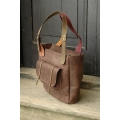 Handmade natural leather big laptop tote bag Angela made by polish designers Ladybuq Art