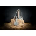 original leather set in grey and light brown colors, bag with wallet and organizer