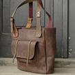 Handmade natural leather big laptop tote bag Angela made by polish designers Ladybuq Art