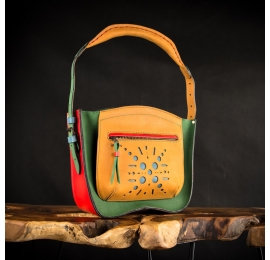 multicolor leather purse with comfortable handle and external pocket