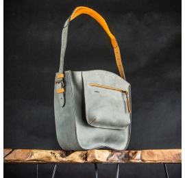 rita purse in grey color with camel accents, handmade leather purse