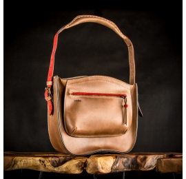 leather bag in brown color with red accents made by ladybuq