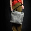 Chic leather purse in Grey color, woman tote Zuza made by hand by Ladybuq Art