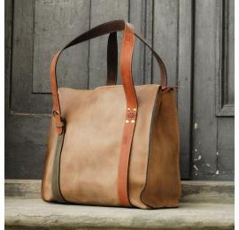 Big lili mniejszy rozmiar jasny brąz unikalna torebka torba z naturalnej skóry idealna na zakupy