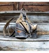 wygodny, skórzany plecak w stylu vintage w kolorze szarym i beżowym