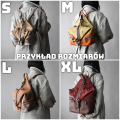 comfortable, leather backpack in vintage style in grey and beige color variation