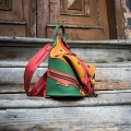 multicolor backpack made out of natural leather, backpack and shoulder bag in one
