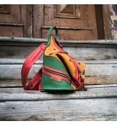 wielokolorowy plecak z naturalnej skóry, plecak i torebka na ramię w jednym