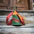 Multicolor leather backpack and shoulder bag in one, handmade backpack with comfortable straps made by Ladybuq