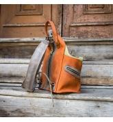 skórzany plecak w kolorach pomarańczowym i limonkowym, ręcznie wykonany plecak w 4 rozmiarach