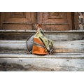 leather backpack and orange and lime color, handmade backpack in 4 sizes