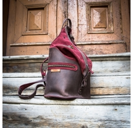 original backpack with zippered pocket on the back and comfortable straps made by ladybuq art