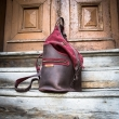 Leather backpack and shoulder bag in one, handmade backpack in Brown and Crimson colors