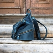 Leather backpack in Navy Blue color, shoulder bag and backpack in one made by Ladybuq Art