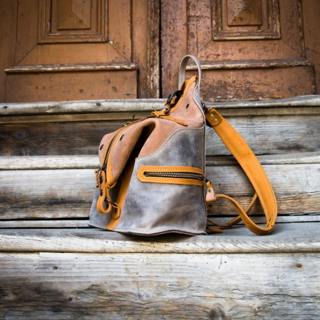 leather handmade backpack in brown and grey color variation made by ladybuq art