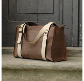 Lili brązowa z beżowymi paskami torebka z naturalnej skóry wysokiej jakości unikalna torba na każdą okazję