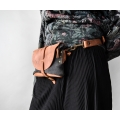 Leather fanny pack/shoulder bag made by Ladybuq in Ginger with Grey suede