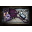 Leather key case, small key pouch with wristlet strap in Plum color