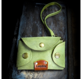 Skórzana kluczówka ręcznie wykonana, oryginalne etui na klucze w kolorze Limonkowym