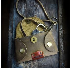 Ręcznie wykonany skórzany pokrowiec na klucze, Brązowa kluczówka w stylu vintage