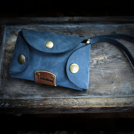 leather handmade key holder in Navy Blue color