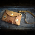 leather car keys cover in Whiskey color made by Ladybuq