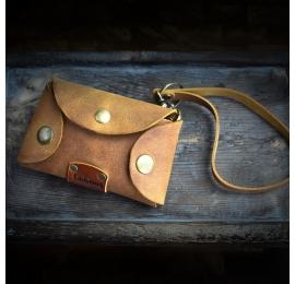 Ręcznie wykonany, skórzany pokrowiec na klucze w kolorze Whiskey, oryginalny dodatek do torebki