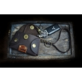 small key holder in brown color, leather case for car keys