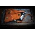 key holder in orange color, real handcrafted key cover