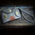key holder made out of high quality leather in grey color made by Ladybuq Art