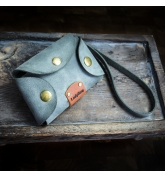 leather key case in grey color, small key holder in ladybuq art