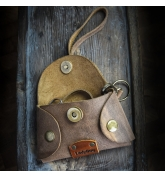 Leather key cover in Brown color with comfortable wristlet strap