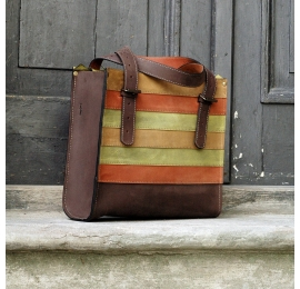 Squer unique tote desiger bag made by hand from natural high quality leather colorful stripes, brown with zipper
