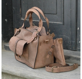 Handmade original ladybuq natural leather tote bag with a pocket, a strap and a clutch light brown