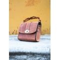 Handmade small leather purse color ginger
