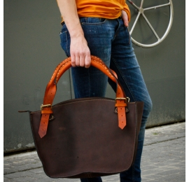 Designer handmade tote bag with clutch dark brown with orange handles